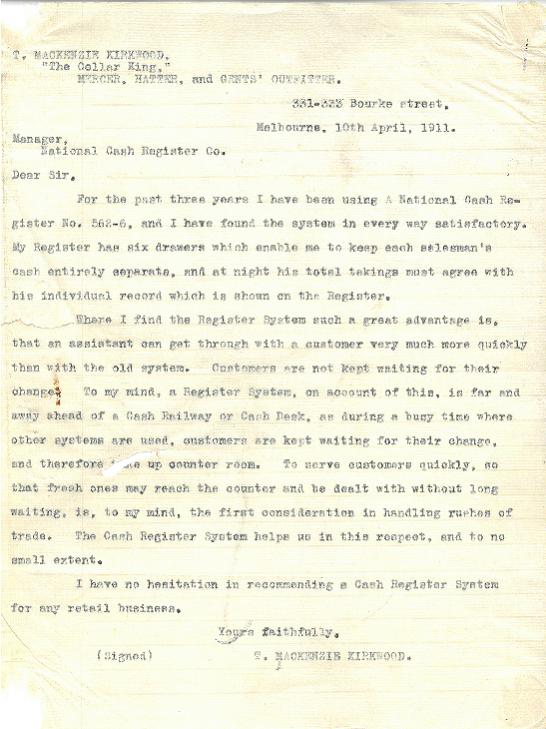 Image of typewritten letter by T. MacKenzie Kirkwood