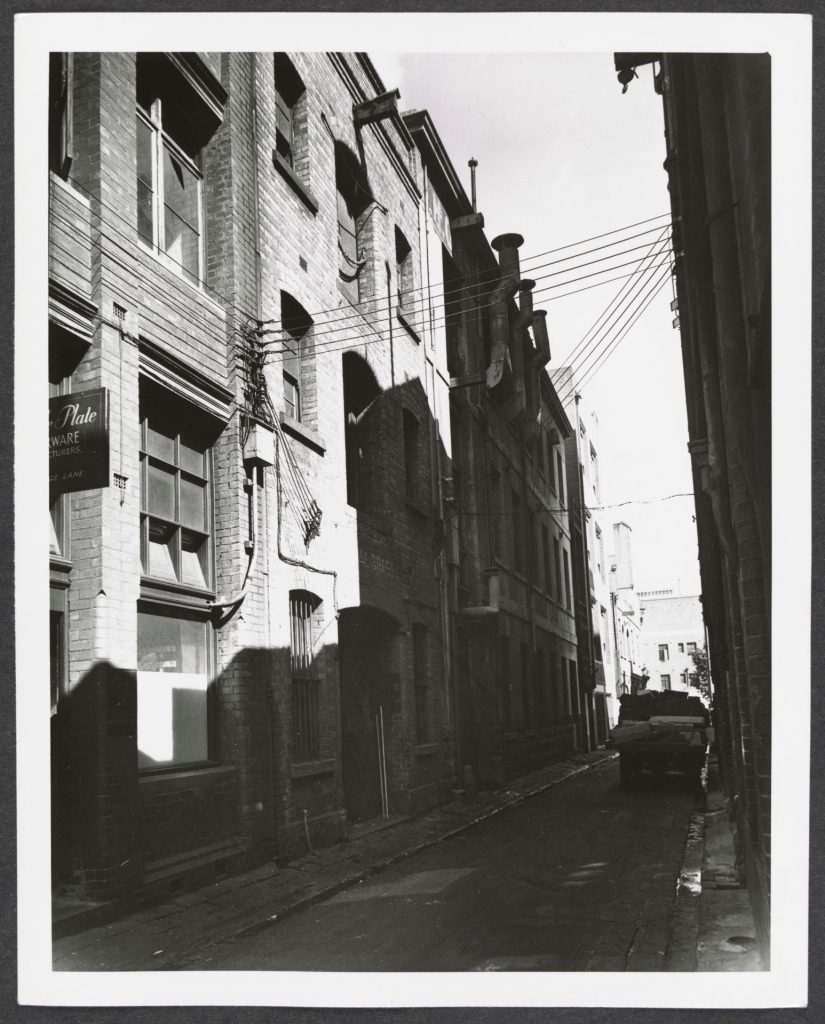 Black and white photo of George Lane in Little Lon from 1950's