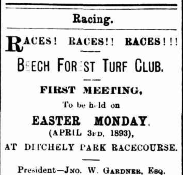 Newspaper advertisement for first race meeting at Ditchely Park racecourse