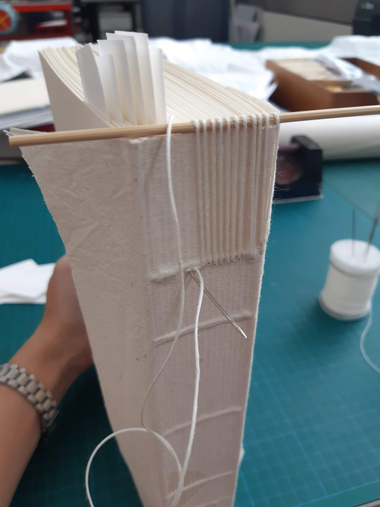 Spine of book model displaying sewing