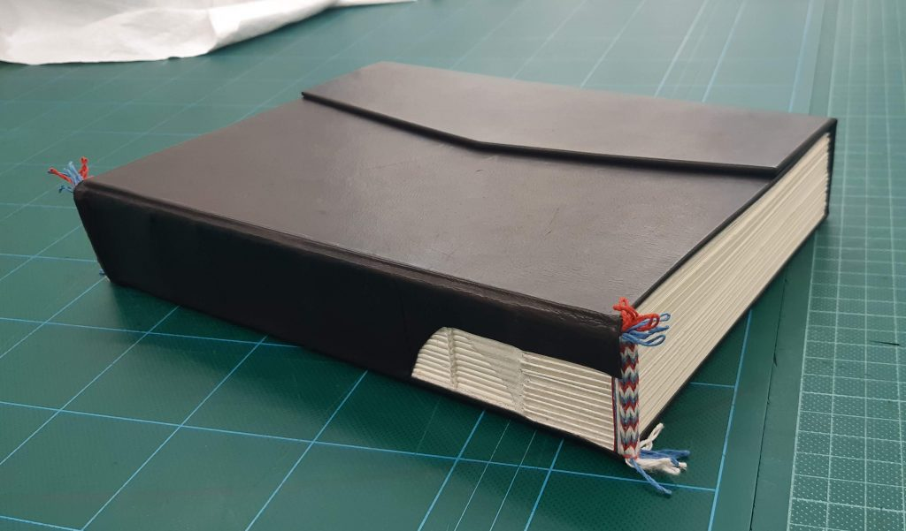 Book model on work bench