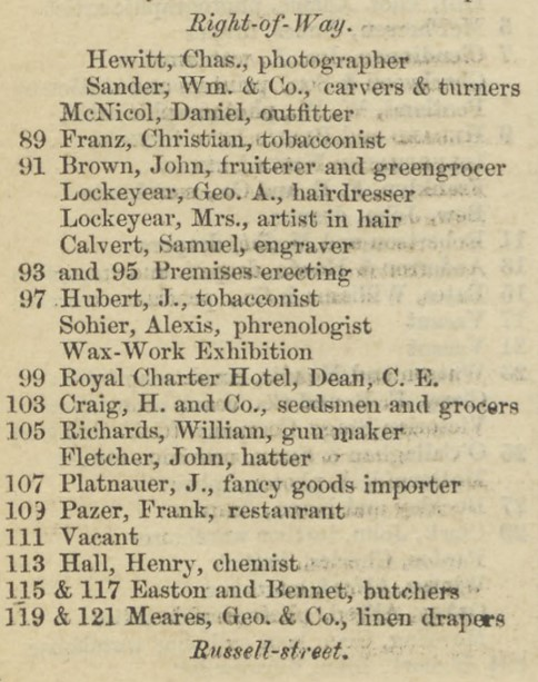 Extract of listings from 1857 Sands & Kenny directory