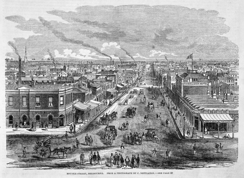 Black and white engraving showing busy street scene in Bourke Street. People standing around in groups talking, horses and carriages, city buildings in background