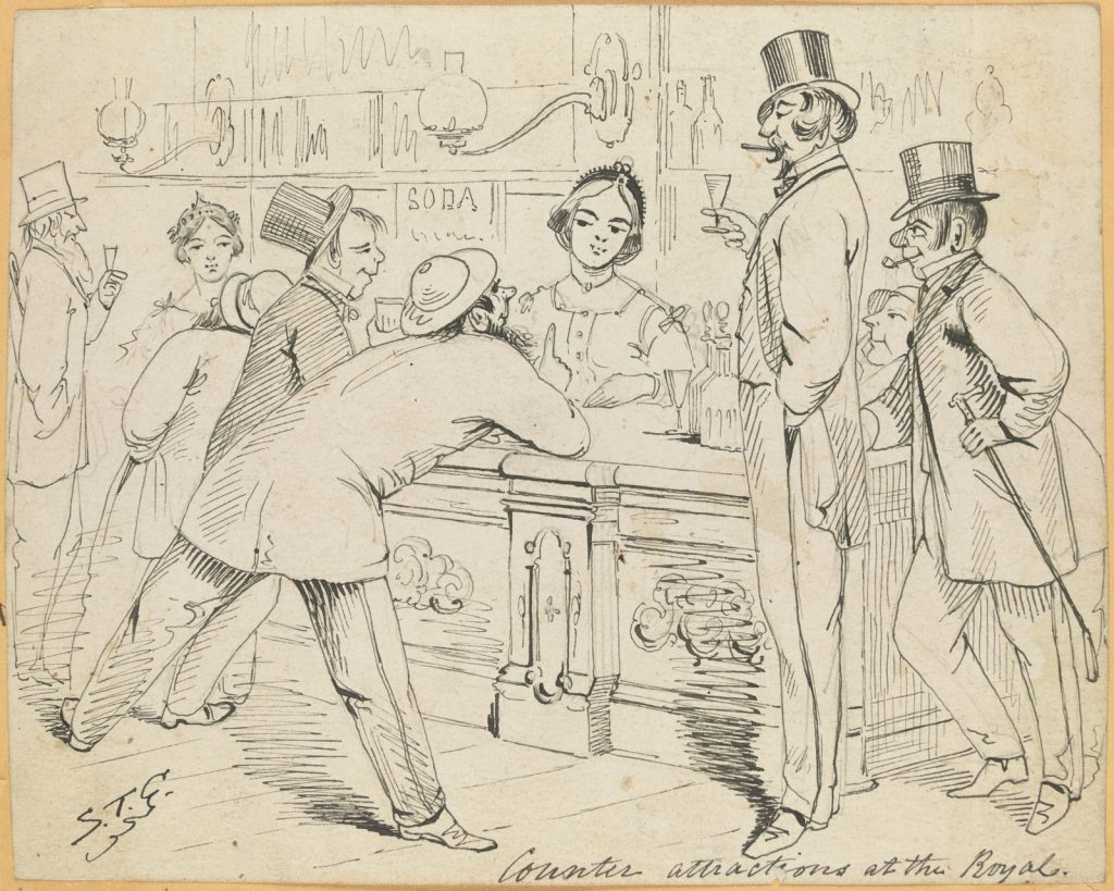 "Pen and ink drawing of men gathered around hotel bar, possibly the Royal Melbourne Hotel in Bourke Street, the Hotel Royal or Theatre Royal, all gazing at the pretty woman serving behind the bar. Men's clothing depicts different socio-economic groups, a ""gentleman"" with a top hat and cigar stands with a small glass beside another man also with a top hat and cane, but with a pipe and red nose; other men seemingly drunk leaning towards woman."
