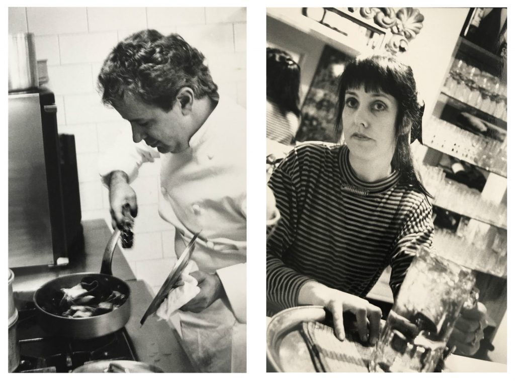 Two black and white portrait photographs side by side, the left depicting a man looking down at the contents of a saucepan cooking on a stove, the other of a woman looking at the camera as she holds onto a tray with a glass jug.