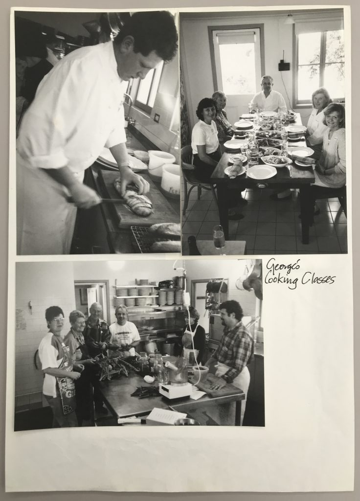Three black and white photographs adhered to a sheet of paper, depicting a gathering of men and women cooking in a kitchen.