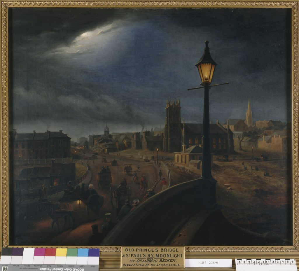 Painting depicting view of Melbourne from Princes Bridge by moonlight in 1857, gas lamp in foreground