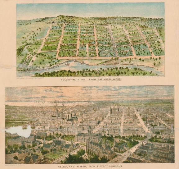 Colour drawings contrasting a view of Melbourne in 1838 - a grid of rolling hills and trees, with Melbourne in 1888 - a sprawling metropolis