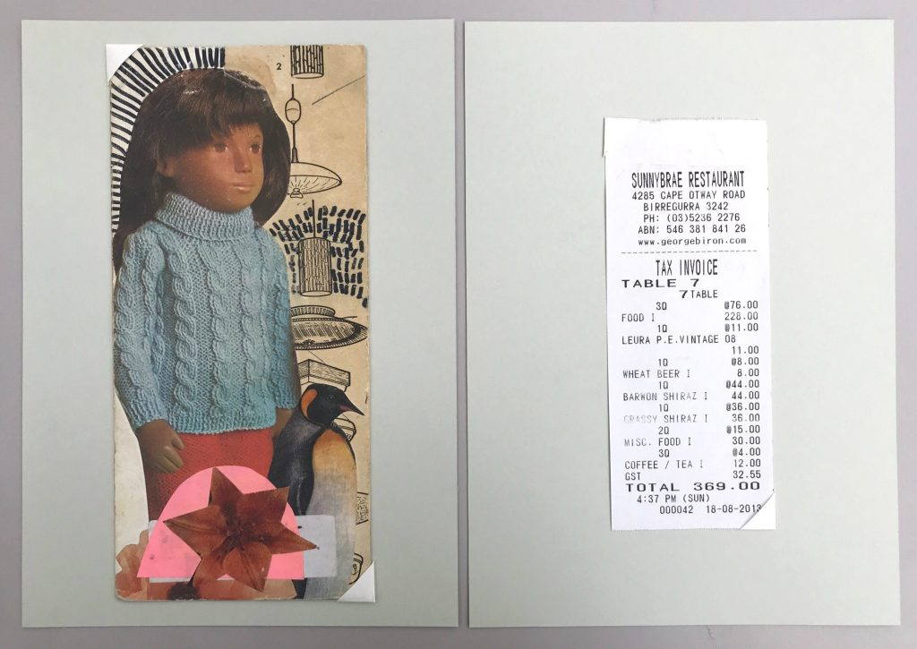 Colour photograph depicting a collage with a doll on the left and a receipt on the right, both centred and held in place on two pieces of card with photo corners.