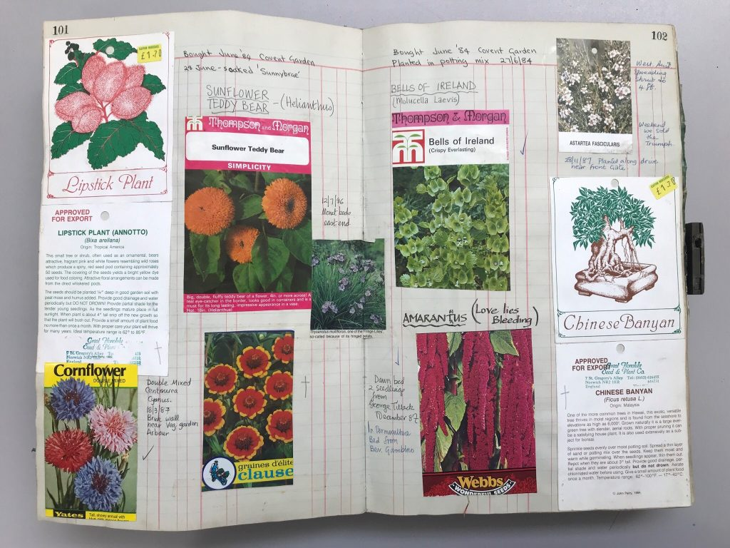 Colour photograph of a large ledger, opened to a set of pages depicting handwritten notes and various empty packets of seeds for plants and flowers.