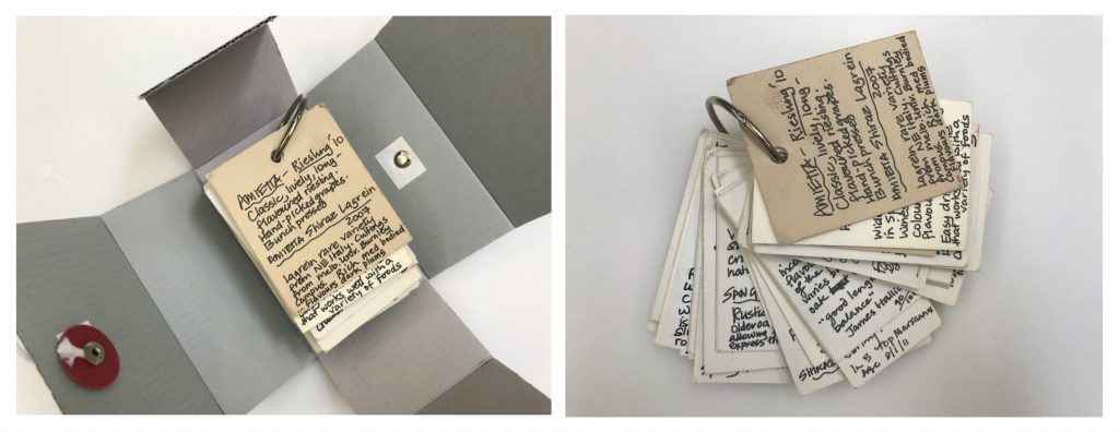 Two colour photographs side by side, the left shows a set of flip cards with text bound on a metal ring inside a fold out box, the right depicts the flip cards on their own, slightly fanned out.