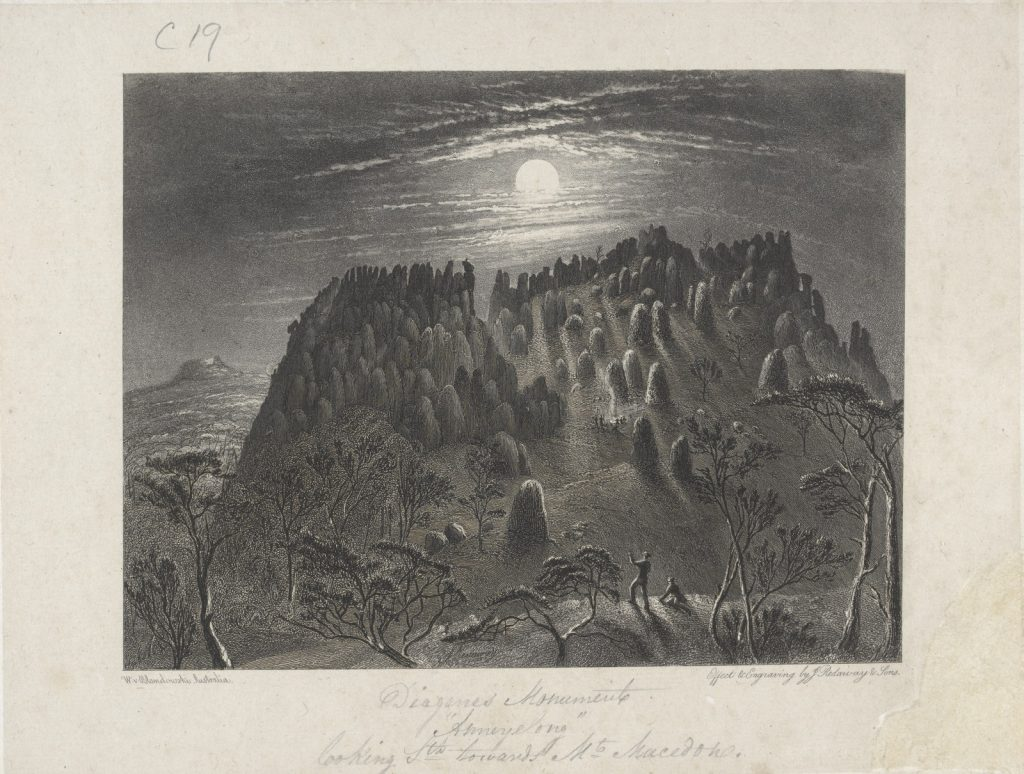 Black and white engraving of view of Mount Macedon from the Diogenes Monument 'Anneyelong'