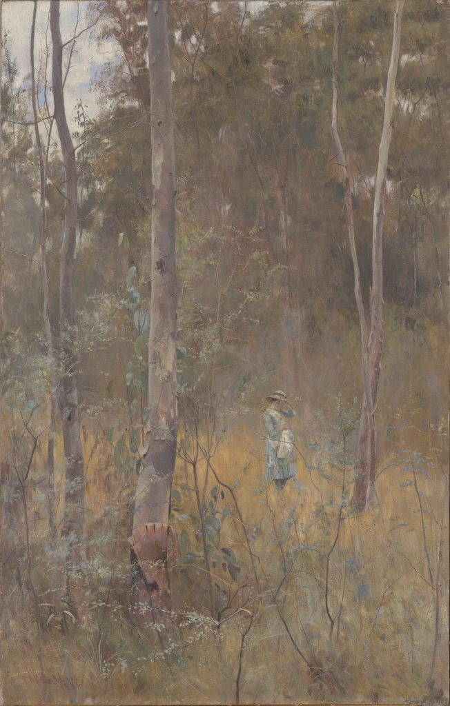 An oil painting of a young girl in a blue dress and white pinafore, standing at a distance in an Australian bush landscape holding one arm over her face.