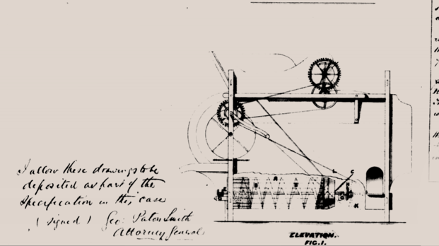 Line drawing of design for Thomas Henderson's winnowing machine
