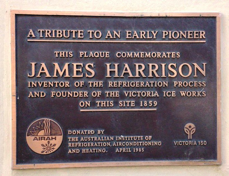 Photo of memorial plaque dedicated to the memory  of James Harrison, from the site of the original Victoria Ice Works