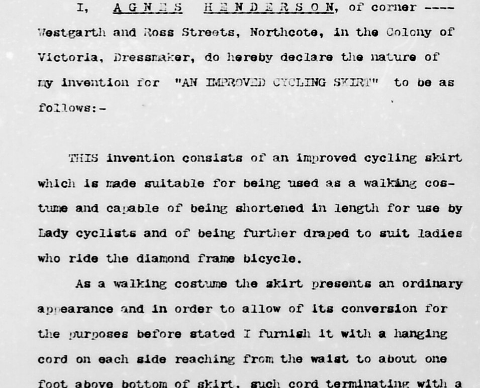 Type-written description of Agnes Henderson's 'improved cycling skirt' from her patent application
