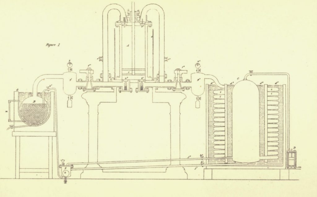 Line drawing of the design of James Harrison's refigeration machine