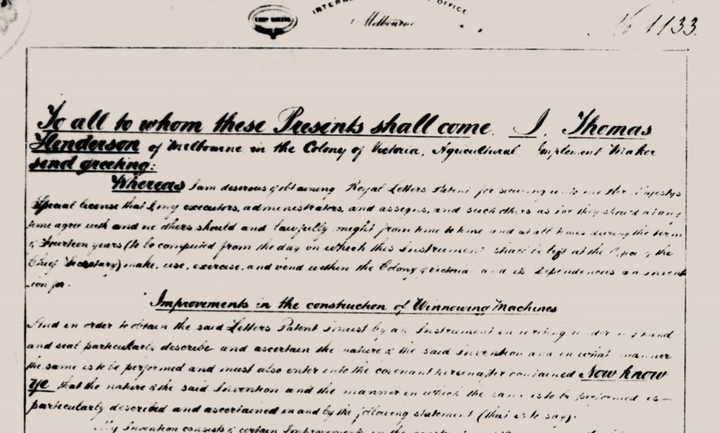 Image shows open paragraph of application for winnowing machine written in cursive handwriting