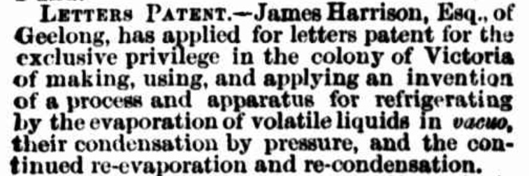Public notice from the Argus newspaper announcing James Harrison's application for letters patent in 1855