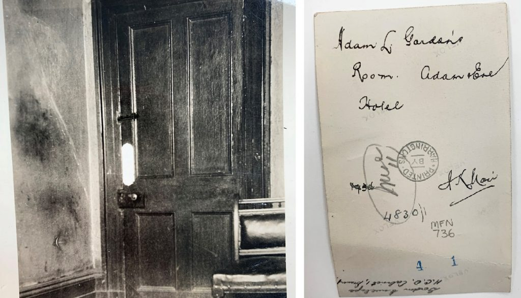 Two side by side images: On the left, a cropped black and white photograph of a closed door. On the right, the back of the photograph with annotations.