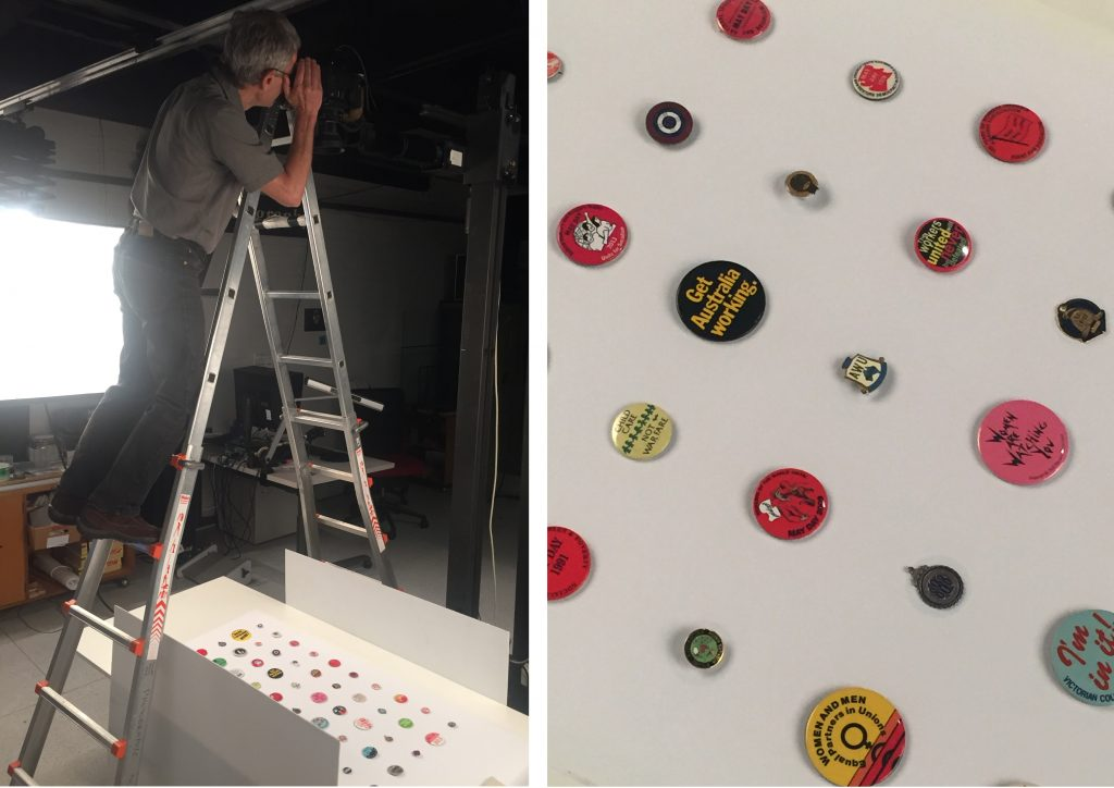 Badge display being photographed in the Photography Studio