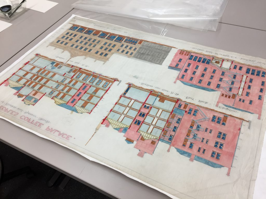 Back view of an architectural drawing on tracing cloth being conserved in the Conservation Lab