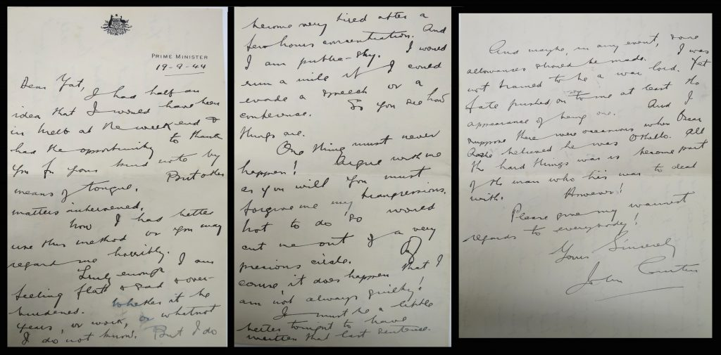 Letter from Curtin to Yatala 1944