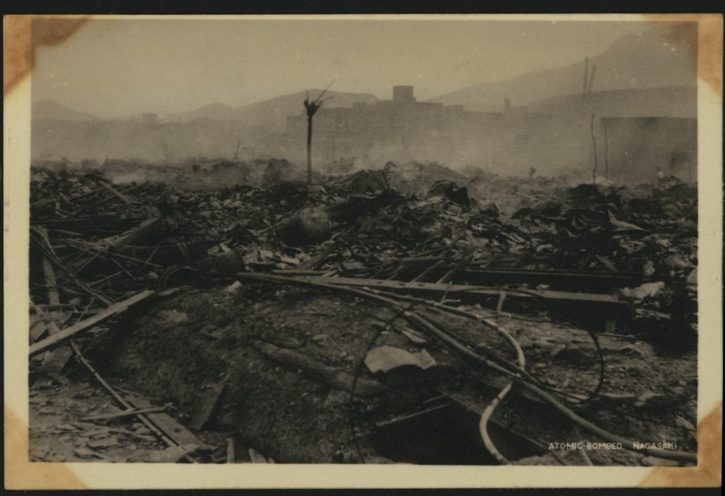 Atomic bombed Nagasaki - shows rubble and utter destruction