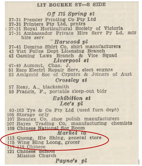 Typed excerpt from Sands & McDougall directory showing listings of residences in Little Bourke Street, including the two Chinese shops at numbers 113 and 115