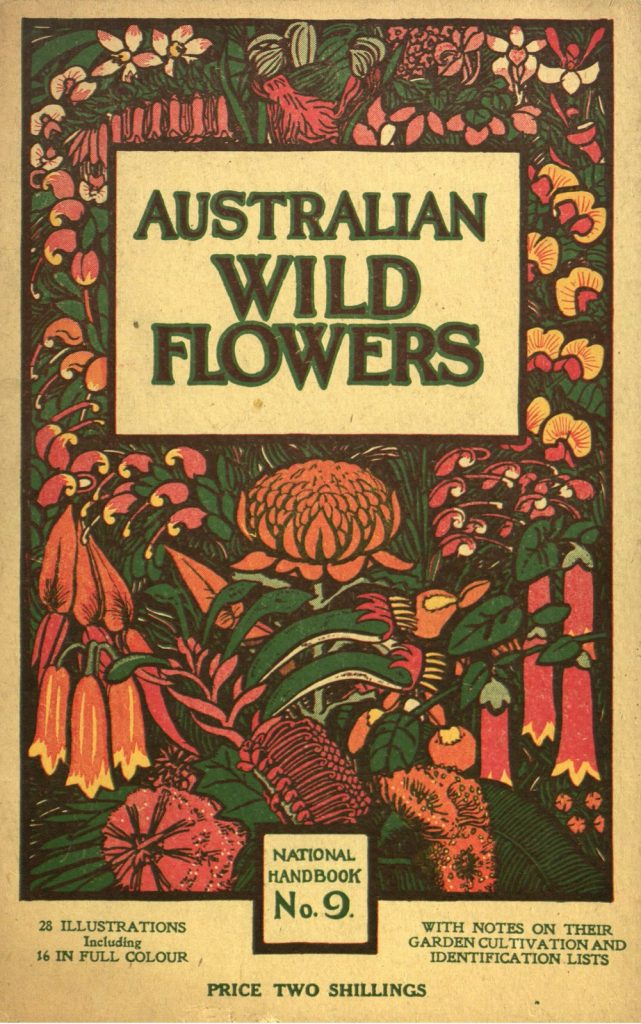 """Cover of a book called """"Australian wild flowers"""" with coloured illustrations of red, yellow and green native flowers."""