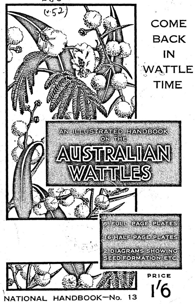 """A black and white book cover called """"Come back in Wattle Time"""" with illustration of a wattle branch in bloom."""