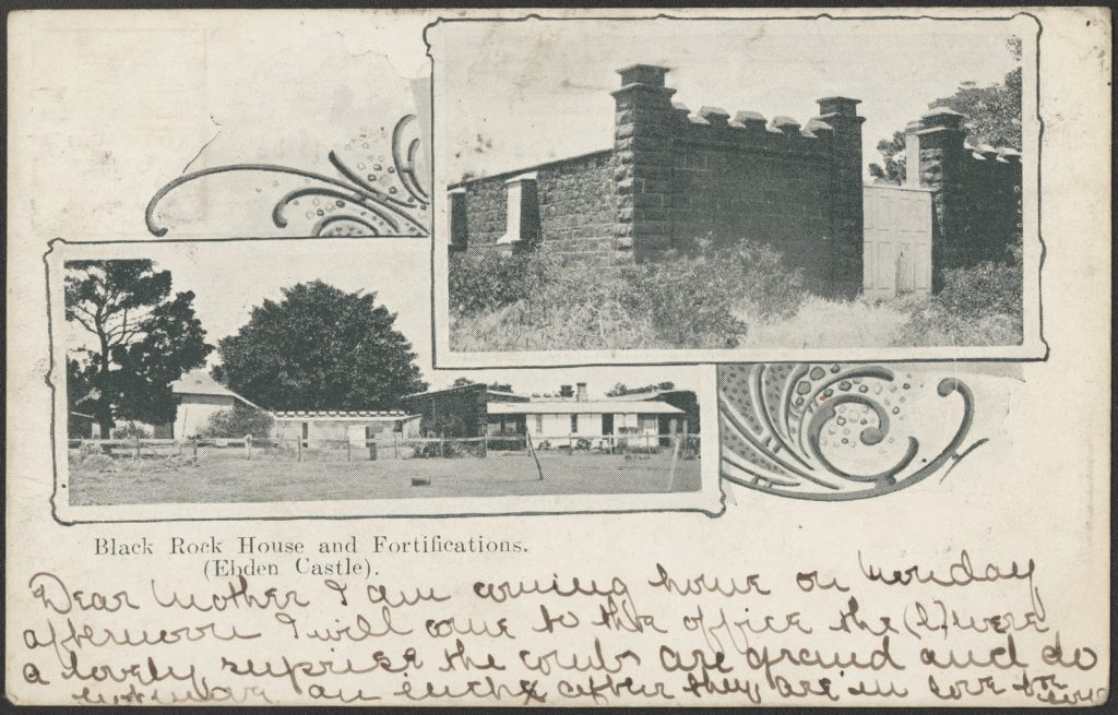 Postcard showing some detail of Black Rock House fortifications
