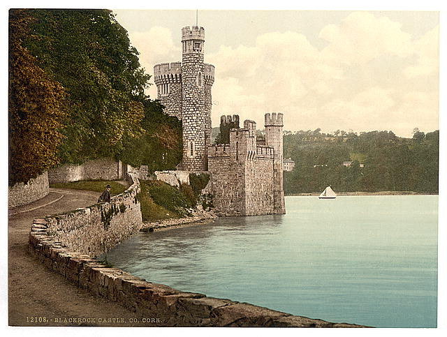 Coloured in image of Black Rock Castle, Cork