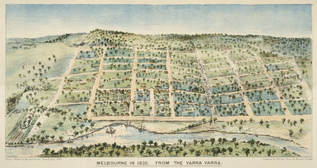Colour lithograph depicts the rolling green hills of early Melbourne. The waterway which becamce Elziabeth Street is visible in the dip between two hills