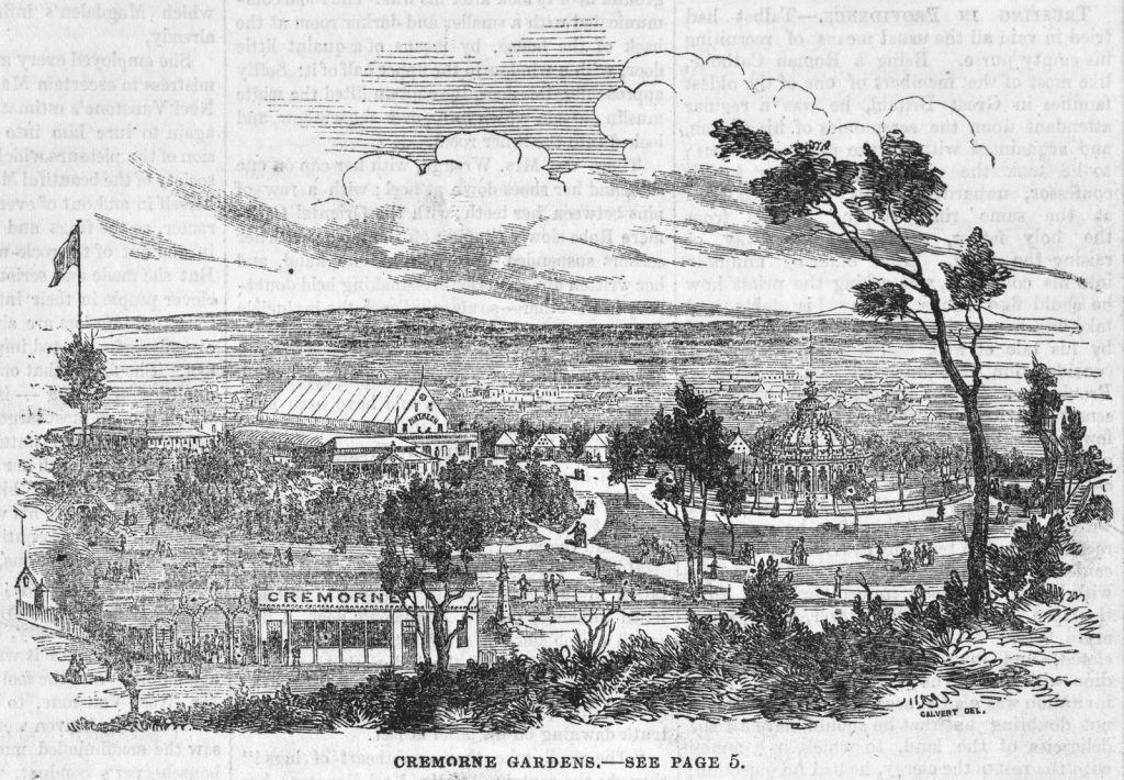 Black and white illustration of Cremorne gardens as it appeared in 1862