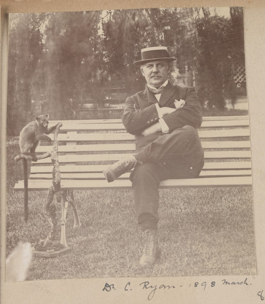 Portrait of Dr C. Ryan sitting on a bench next to a small mammal