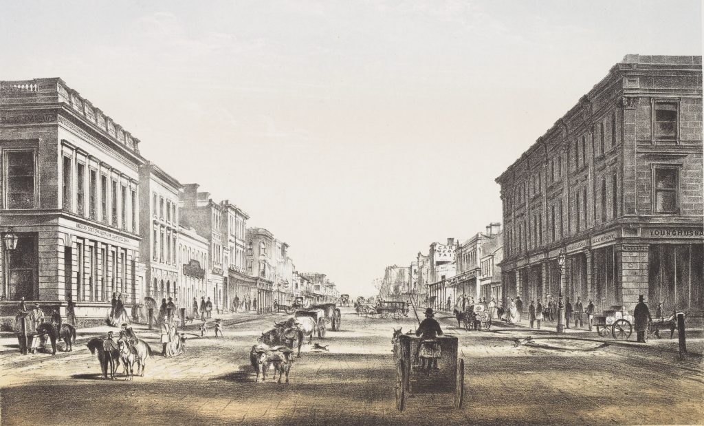 Colour lithograph depicts streetscape from the intersection of Elizabeth Street and Flinders Lane, with English, Scottish and Australian Chartered Bank on left of image and Younghusband and Co. Merchants on right, and also shows horsedrawn and bullockdrawn vehicles.