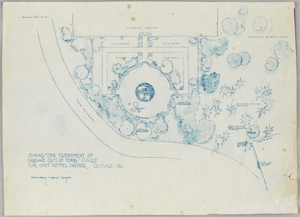 A blue line on white paper print of the garden design by Edna Walling.