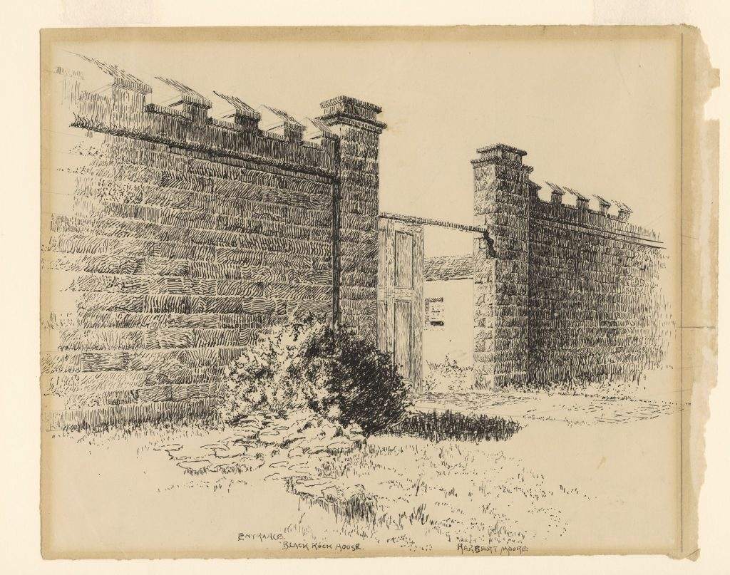Drawing of stone battlements and wooden front gate of Black Rock house