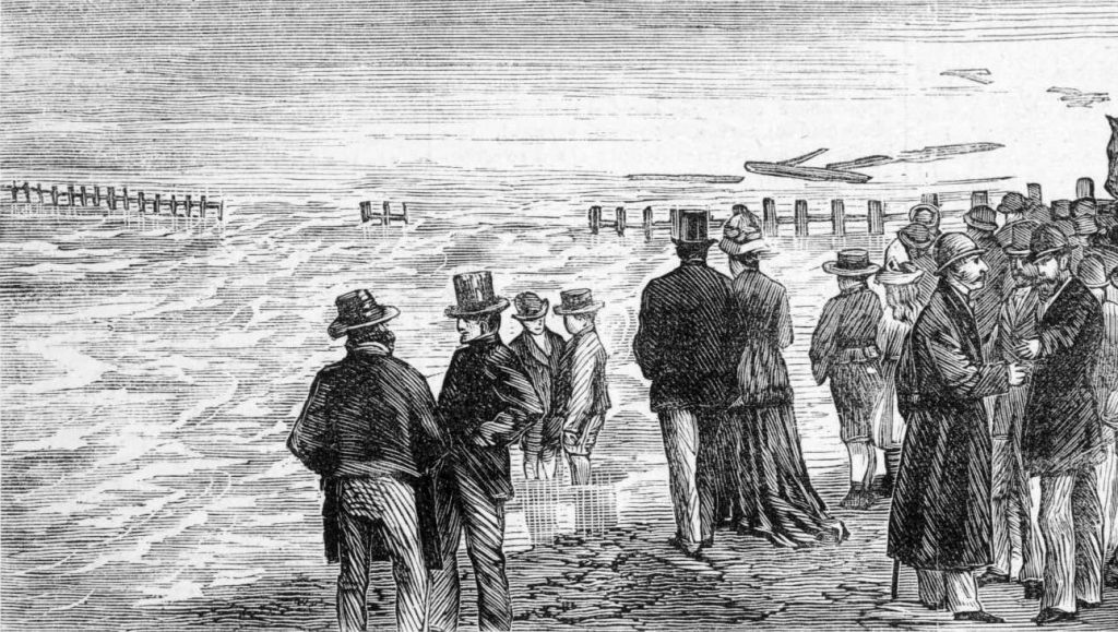 Black and white illustration shows settlers standing on bank of flooded Yarra