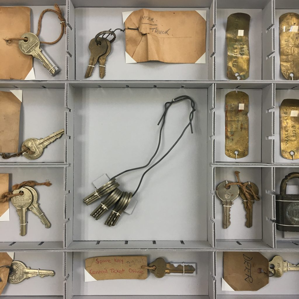 Photograph of keys rehoused by Preservation team