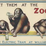 Shows three monkeys each with a baby's feeding bottle, title of poster printed above and below image