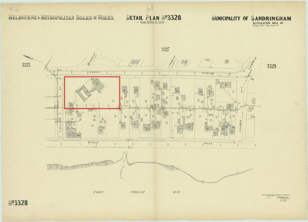 Map of municipality of Sandringham, 1935, showing Black Rock house and proximity to the beach