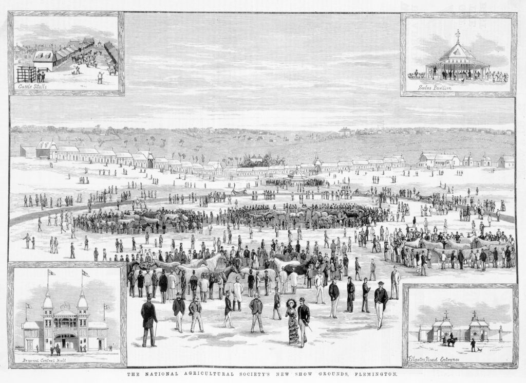 Black and white illustration of crowds milling about in wide open spaces of new showgrounds at Flemington in 1883