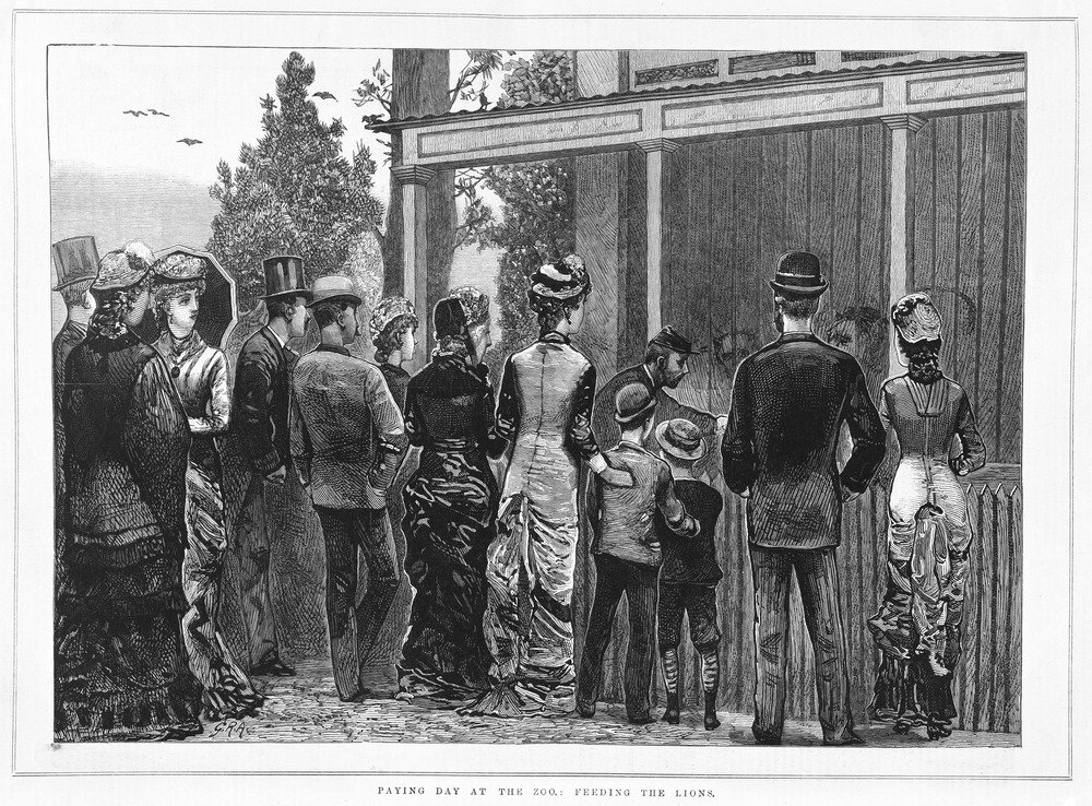 Black and white illustration of members of the public in nineteenth century dress queuing to go in to zoo