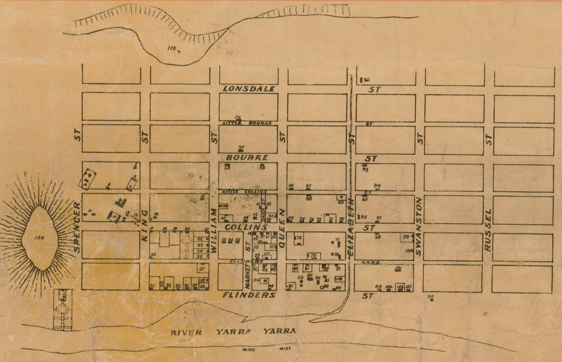Roughly drawn sketch of Hoddle's grid showing creek running along Elizabeth street