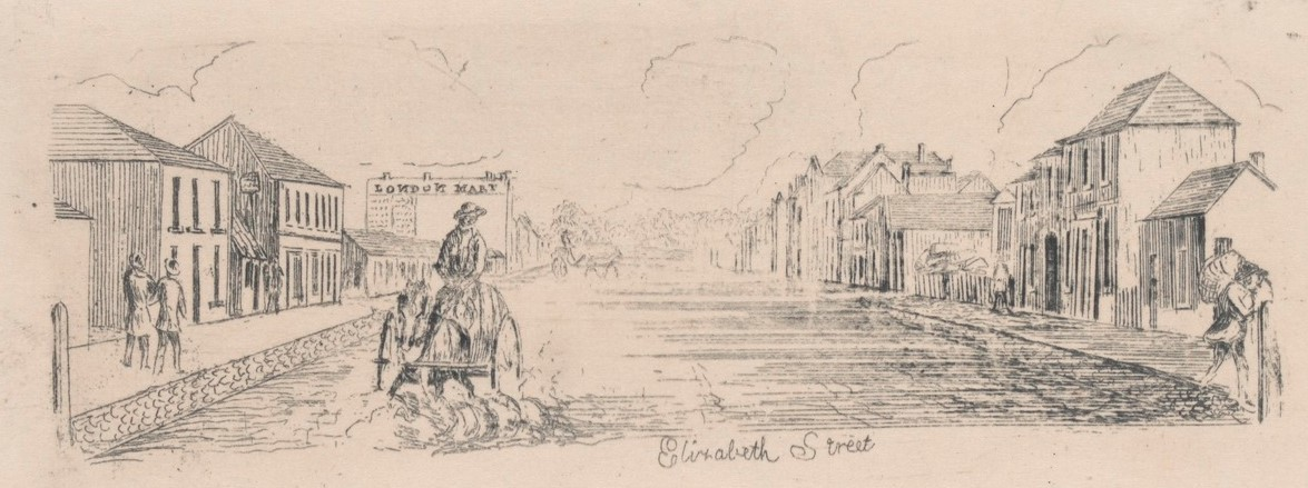 Etching shows man on horse & cart riding down flooded Elizabeth Street