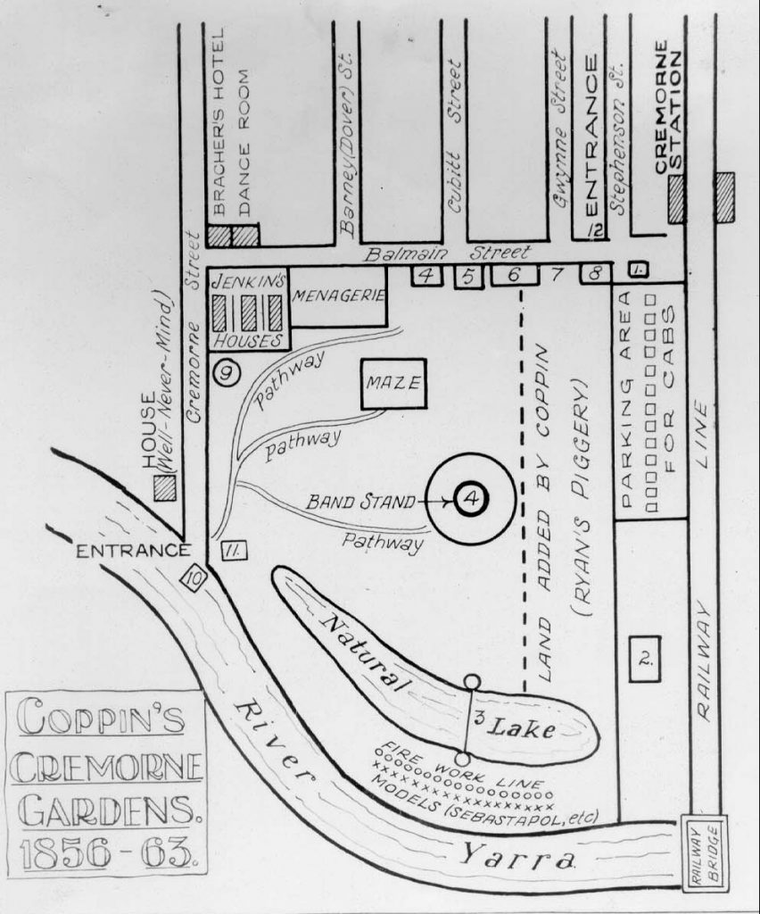 DIagram illustration of Cremorne gardens including location of lake, band stand, menagerie, pathway, railway line and River Yarra