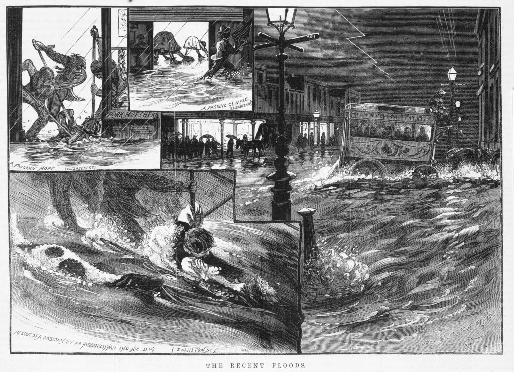 SEries of black and white sketches of street scenes during Melbourne flood, including shop keepers ankle deep in water, man and dog rescuing cabman from raging floodwaters