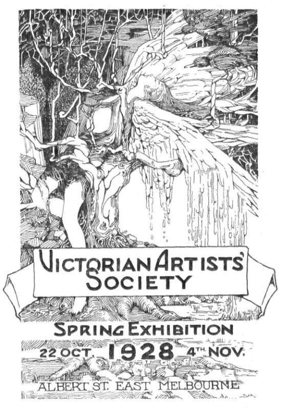 Cover image of 1928 Victorian Artists' Society exhibition catalogue
